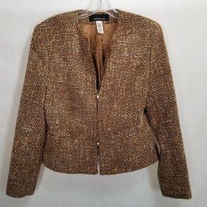 Jones New York Wool Blend Blazer Brown Tweed Sz 8
